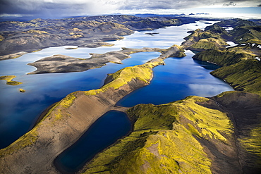Aerial view, Lake Langisjor, moss-covered mountains, Icelandic Highlands, Iceland, Europe