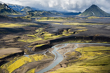 Aerial view, moss-covered mountains and a river, Icelandic Highlands, Iceland, Europe