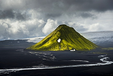 Aerial view, moss-covered Mælifell Mountain, black sand of Mælifellssandur Desert, Icelandic Highlands, Iceland, Europe