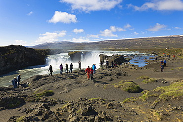 Tourists at Godafoss, waterfall of the gods, Iceland, Northern Europe, Europe