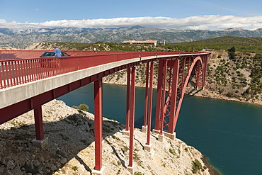 Stari Most Maslenica bridge, N8 highway crossing a canal, Dalmatia, Croatia, Southern Europe, Europe