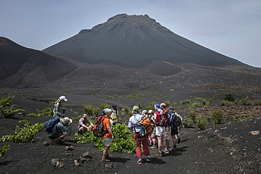 Hikers in front of the volcano Pico do Fogo, Fogo National Park, Fogo island, Cape Verde