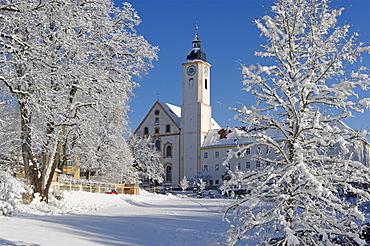 Parish church of the Assumption of Mary, Mariae Himmelfahrt, Dietramszell, Upper Bavaria, Bavaria, Germany, Europe