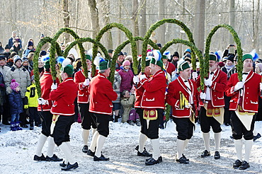 Schaefflertanz, traditional dance of the coopers, Flaucher area, Munich, Upper Bavaria, Germany, Europe