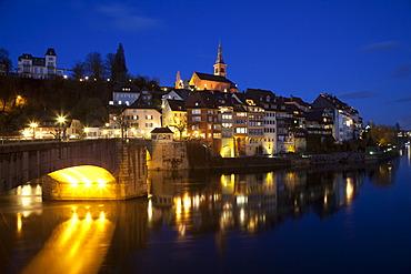 Laufenburg at night, Waldshut district, High Rhine, Black Forest, Baden-Wuerttemberg, Germany, Europe, PublicGround