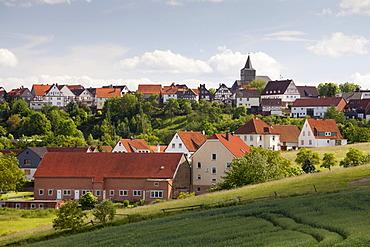View of the village of Waldeck, Waldecker Land region, Edertal valley, Hesse, Germany, Europe, PublicGround
