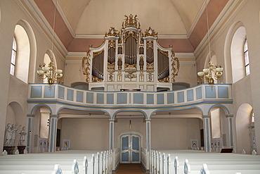 Interior view with the organ, Protestant Church, Bad Arolsen, Waldecker Land region, Hesse, Germany, Europe