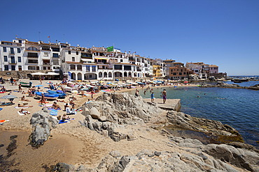 Townscape with coast, Calella de Palafrugell, Costa Brava, Catalonia, Spain, Europe, PublicGround
