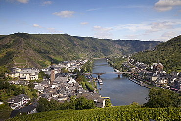 View from the Tummelchen on the town and the Moselle river valley, Cochem, Moselle, Rhineland-Palatinate, Germany, Europe, PublicGround