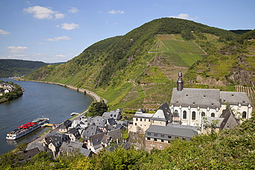 View of Beilstein and the Carmelite church in the Mosellele Valley as seen from Metternich castle, Moselle river, Rhineland-Palatinate, Germany, Europe