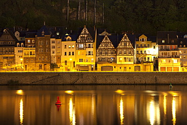 Half-timbered houses on the banks of the Moselle river at night, Cochem, Moselle river, Rhineland-Palatinate, Germany, Europe, PublicGround