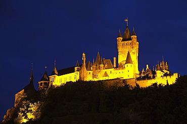 Reichsburg castle at night, Cochem, Rhineland-Palatinate, Germany, Europe, PublicGround