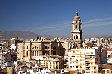 View from Alcazaba Fortress towards the historic city centre and Catedral de la Encarnacion, Malaga Cathedral, Malaga, Andalucia, Spain, Europe