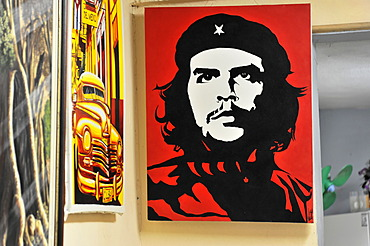 "Picture of Ernesto ""Ché"" Guevara, picture sale, poster, oil paintings, gallery, town centre of Havana, Centro Habana, Cuba, Greater Antilles, Caribbean, Central America, America"
