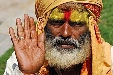 Sadhu, holy man, Pashupatinath, Kathmandu, Nepal, Asia