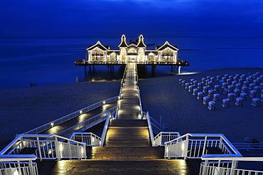 Illuminated pier, Baltic Seaside Resort Sellin, Rügen, Mecklenburg-Western Pomerania, Germany