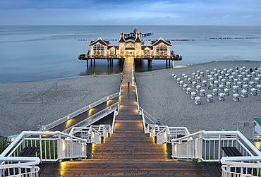 Illuminated pier, Baltic Sea resort of Sellin, Baltic Seaside Resort Sellin, Rügen, Mecklenburg-Western Pomerania, Germany