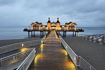 Illuminated pier, Baltic Sea resort town of Sellin, Baltic Seaside Resort Sellin, Rügen, Mecklenburg-Western Pomerania, Germany
