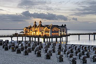 Illuminated pier, Baltic Sea resort town of Sellin, Ruegen Island, Mecklenburg-Western Pomerania, Germany, Europe