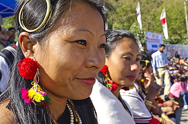 Tribal people at the annual Hornbill Festival in Kohima, India, Asia