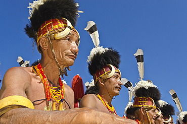 Konyak warriors with full gear at the annual Hornbill Festival in Kohima, India, Asia