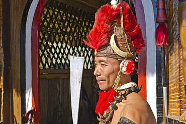Phom warrior in full gear at the annual Hornbill Festival in Kohima, India, Asia