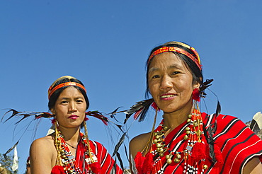 Women of the Phom tribe at the annual Hornbill Festival, Kohima, Nagaland, India, Asia