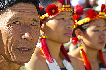 Members of the Samdom tribe at the annual Hornbill Festival, Kohima, Nagaland, India, Asia