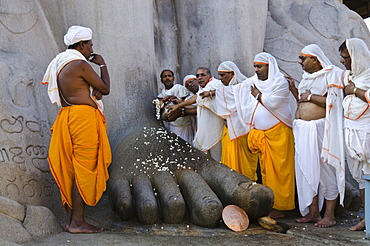 A group of Jain pilgrims doing a special pooja in front of the gigantic statue to receive the blessings of Bahubali by the local priests, Gomateshwara in Sravanabelagola, Karnataka, India, Asia