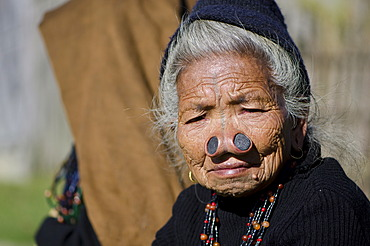 Old Apatani woman with the traditional noseplugs and tattoos, in front of her house, Dutta village, Arunachal Pradesh, India, Asia