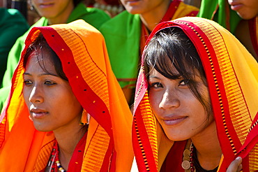 Young women of different tribes waiting to perform ritual dances at the Hornbill Festival, Kohima, Nagaland, India, Asia