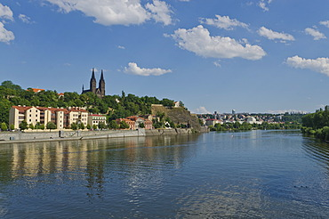 Vyoeehrad with the Church of St. Peter and Paul, seen across river Vltava, Prague, Czech Republic, Europe