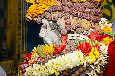 Sadhu with decoration, participant in the archaic Shivratri procession, Varanasi, Uttar Pradesh, India, Asia