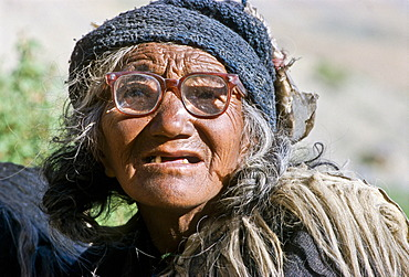 Portrait of a woman from the remote village of Zanskar, Lingshed, India, Asia