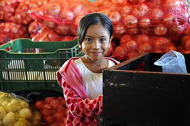Girl, CENMA, vegetable wholesale market in the south of Guatemala City, Guatemala, Central America
