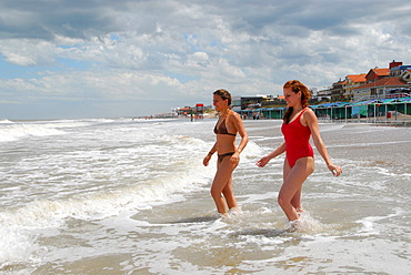 Two young Argentinian women at the beach of Pinamar, Buenos Aires Province, Argentina, South America