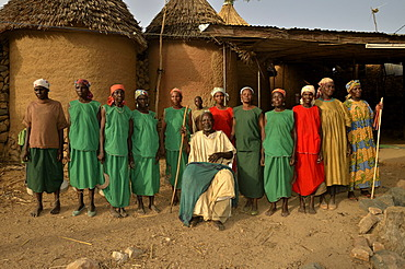 Mozogo Daouka, 98, chief of the village of Oudjilla with some of his 50 wives, near Mora, Cameroon, Central Africa, Africa
