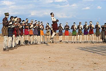 Nyangatom, Bumi, tribal dance ceremony, Omo river Valley, Ethiopia, Africa