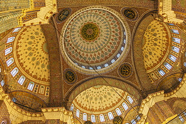 Interior, Yeni Cami or New Mosque, domes and cupolas, Istanbul, European side, Istanbul Province, Turkey, European side