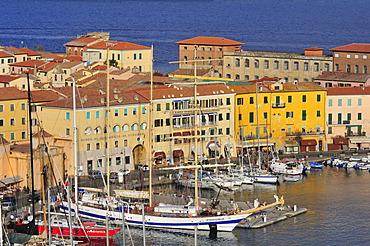 Polish sailing ship in the port of Portoferraio, Elba, Tuscany, Italy, Europe