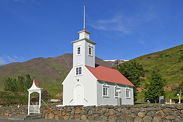 Church of the old peat farm of Lauf√°s, museum, Eyjafjoer√∞ur, Iceland, Europe