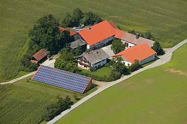 Farm with solar energy system, Upper Bavaria, Bavaria, Germany