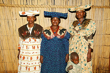 Women wearing traditional dress, Sehitwa, Botswana, Africa