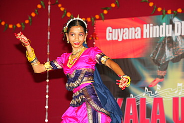 Traditional Indian dancer at a Hindu Festival, Georgetown, Guyana, South America