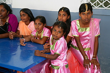Girls of Indian ethnicity at a Hindu Festival in Georgetown, Guyana, South Amerika