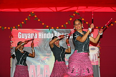 Traditional Indian dancers at a Hindu Festival in Georgetown, Guyana, South America