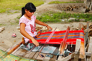 Woman at a loom, Batak culture, Samosir island, Lake Toba, Batak region, Sumatra, Indonesia, Asia