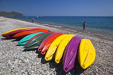 Kayaks on the beach of Olympos, Lycian coast, Lycia, Aegean, Mediterranean Sea, Turkey, Asia Minor