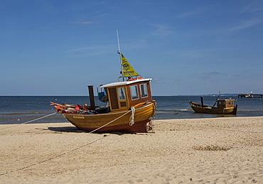 Fishing boat on the beach, Usedom Island, Mecklenburg-Western Pomerania, Germany, Europe