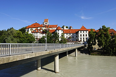 St. Mang's Abbey on the Lech river, Fuessen, Ostallgaeu district, Allgaeu, Swabia, Bavaria, Germany, Europe